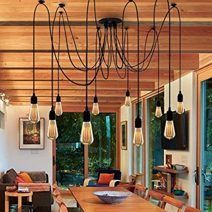 Industrial Ceiling Pendant Spider Light Fixture 10 Multiple Lighting Lamp  Adjustable DIY Hanging Chandelier For Living