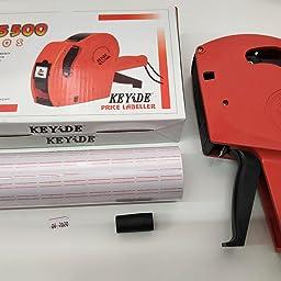 JZK® Etiquetadora pistola de precios 1 línea 8 caracteres precios al por menor kit de la pistola de etiquetas con 10 rollos de etiqueta y 2 cartuchos de tinta, rojo: Amazon.es: Industria,