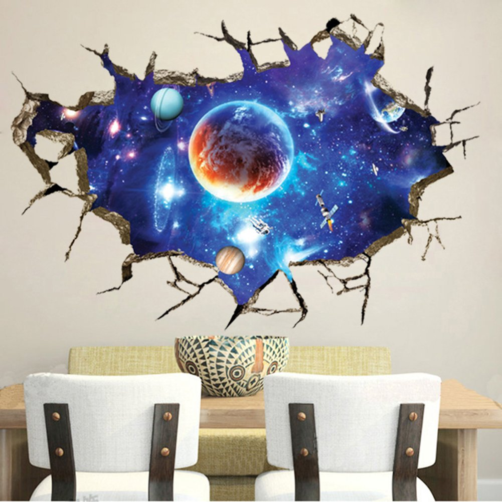 WMdecal DIY Removable 3D Cracked Wall Outer Space Stars Universe Planets Art Mural Vinyl Waterproof Wall Stickers Kids Room Decor Nursery Decal Sticker Wallpaper 35.4''x23.6'' WM0997