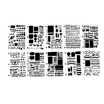 Bullet Journal Stencil Set VEESUN 10 Piezas Plantillas de Plástico Accesorios de Scrapbooking Letras y Números