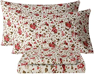 Bedlifes Queen Sheet Set Floral Luxury Ultra Soft Wrinkle-Free Hypoallergenic Red Rose Pattern Printed Bed Sheets Deep Pocket Flat Sheet& Fitted Sheet& Pillowcases 100% Microfiber 4 Piece Queen Size
