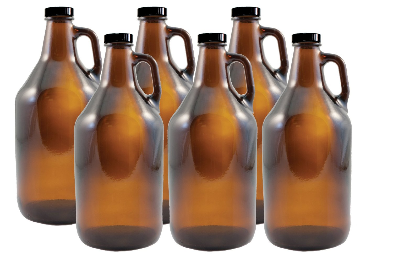True Fabrications  Set of 6 - 1/2 gal Amber Beer Growlers - Comes with 12 Extra Poly Seal Caps
