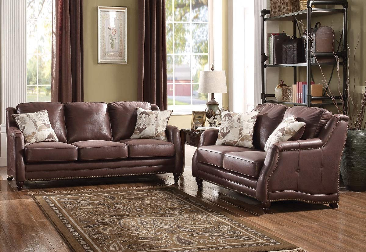 Hollywood Decor Sneek Sofa & Loveseat with 4 Accent Pillows in Chocolate Microfiber
