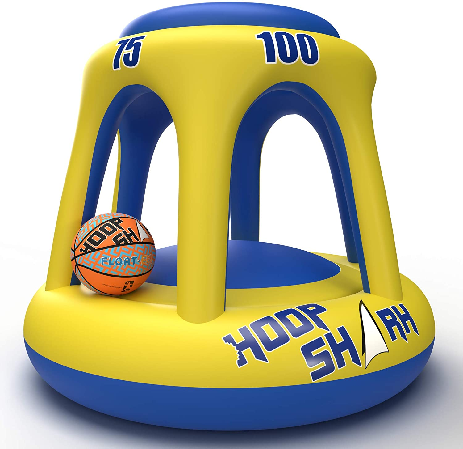 Hoop Shark Swimming Pool Basketball Hoop Set by FLOAT-EEZ - 2020 Edition - Inflatable Hoop with Ball Included - Perfect for Competitive Water Play and Trick Shots - Ultimate Summer Toy (Yellow)