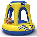 Swimming Pool Basketball Hoop Set by Hoop Shark - Yellow/Blue 2020 Edition - Inflatable Hoop with Ball Included - Perfect for