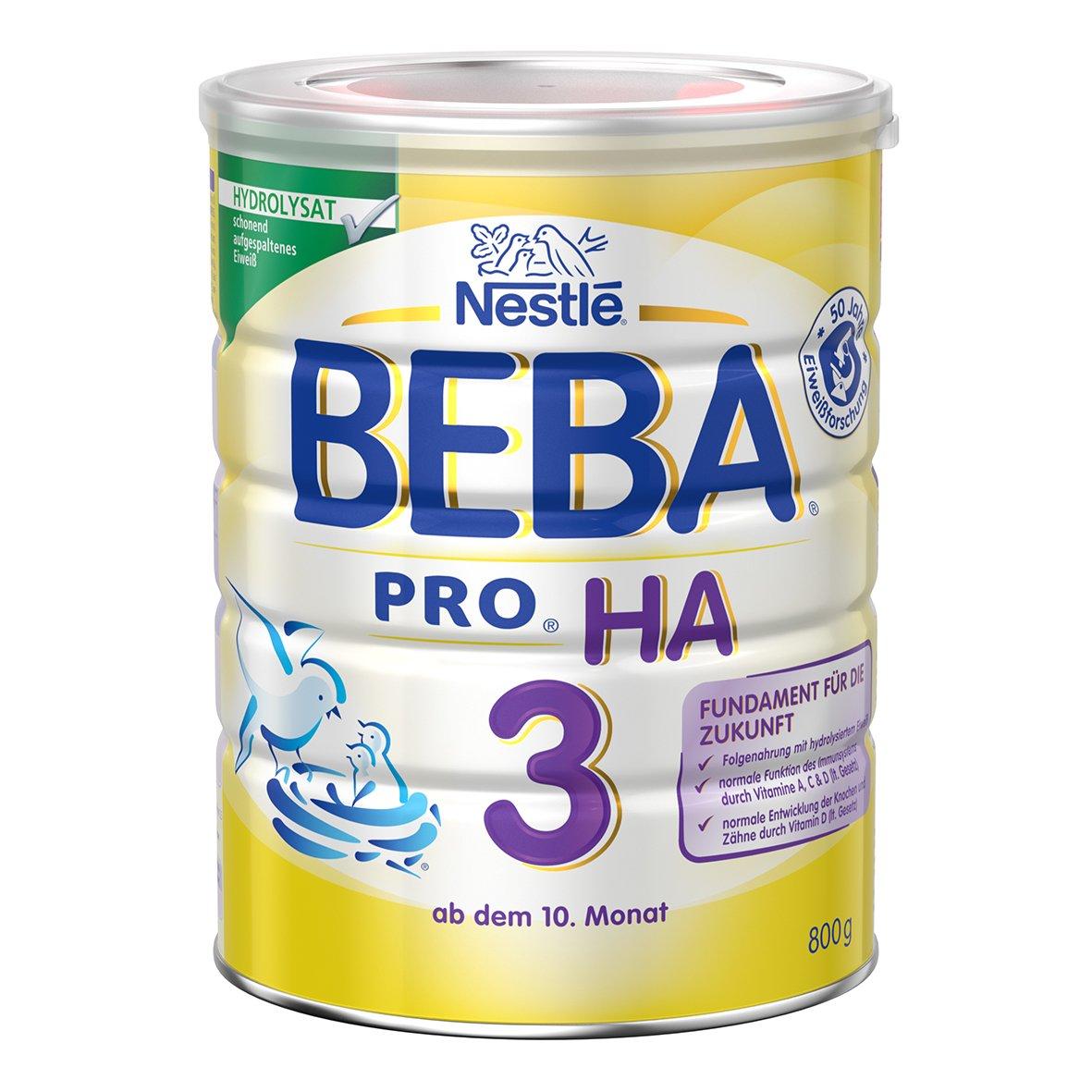 Nestlé Beba Pro HA 3 Folgenahrung, ab dem 10. Monat, Baby-Nahrung als Pulver, mit hydrolisiertem Eiweiß, enthält Vitamin A, C und D, 800g Dose enthält Vitamin A