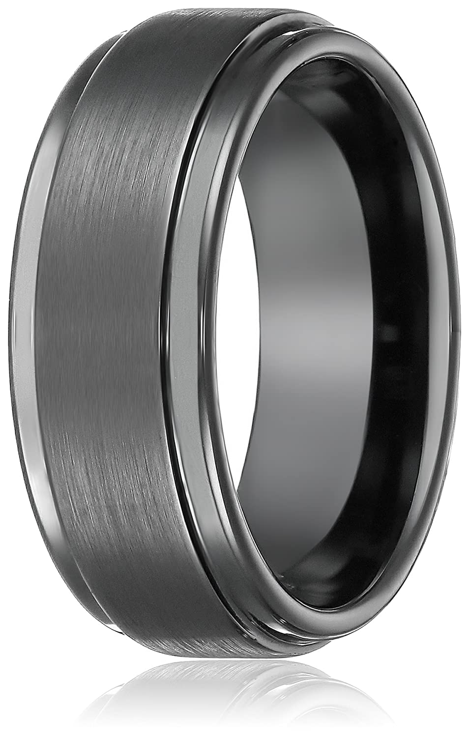 8mm black high polish tungsten carbide mens wedding band ring in comfort fit and matte finish sizes 5 to 16 amazoncom - Tungsten Mens Wedding Rings