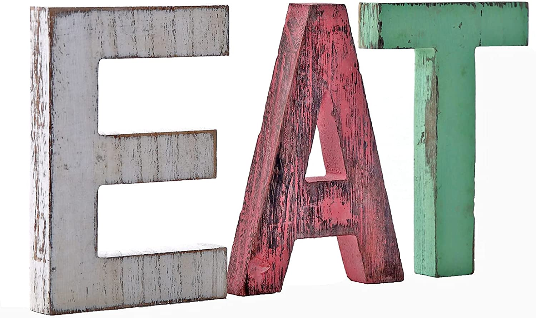 Rustic Wood Eat Letters Sign Decor,Desktop Freestanding Handmade Wooden Blocks Multicolor Home Decor Letters Block, Wooden Eat Letters,Home Kitchen Livingroom Decor Housewarming Gift
