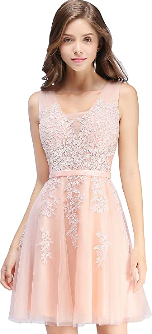 Lace Tulle Short V Neck Semi Casual Prom Dress