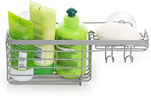BINO Suction Nickel Shower Caddy, Combo Basket