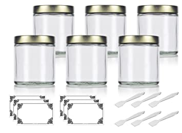 5c6cebe71503 Amazon.com : Clear Thick Glass Straight Sided Jar with Gold Metal ...