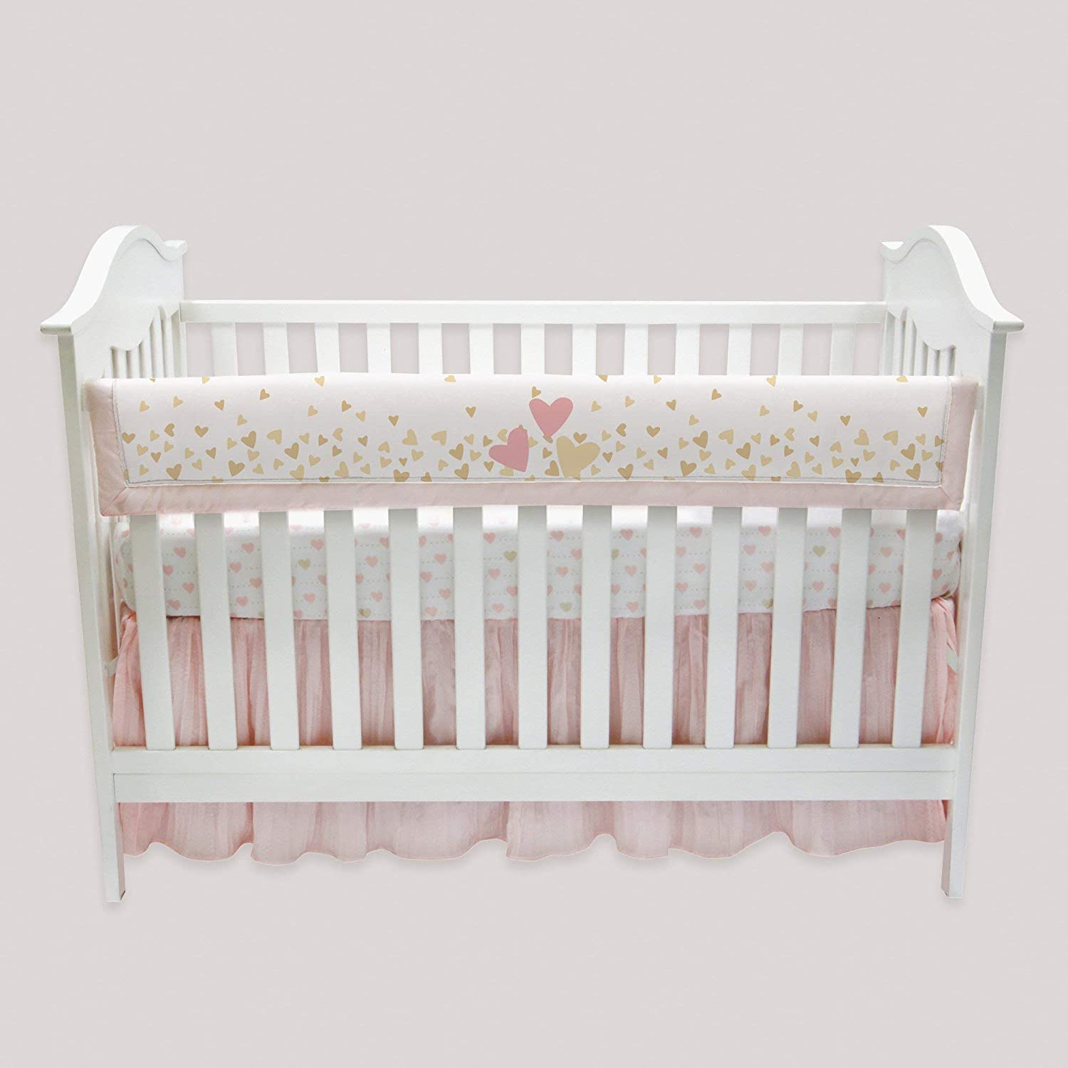Pink//Gold Lambs /& Ivy Confetti Heart 4 Piece Crib Bumper