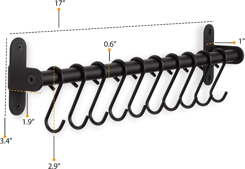 "Wallniture Lyon Steel Kitchen Rail with 10 Hooks Wall Mount Pot Pan and Utensil Holder Rack 17/"" Frosty Black"
