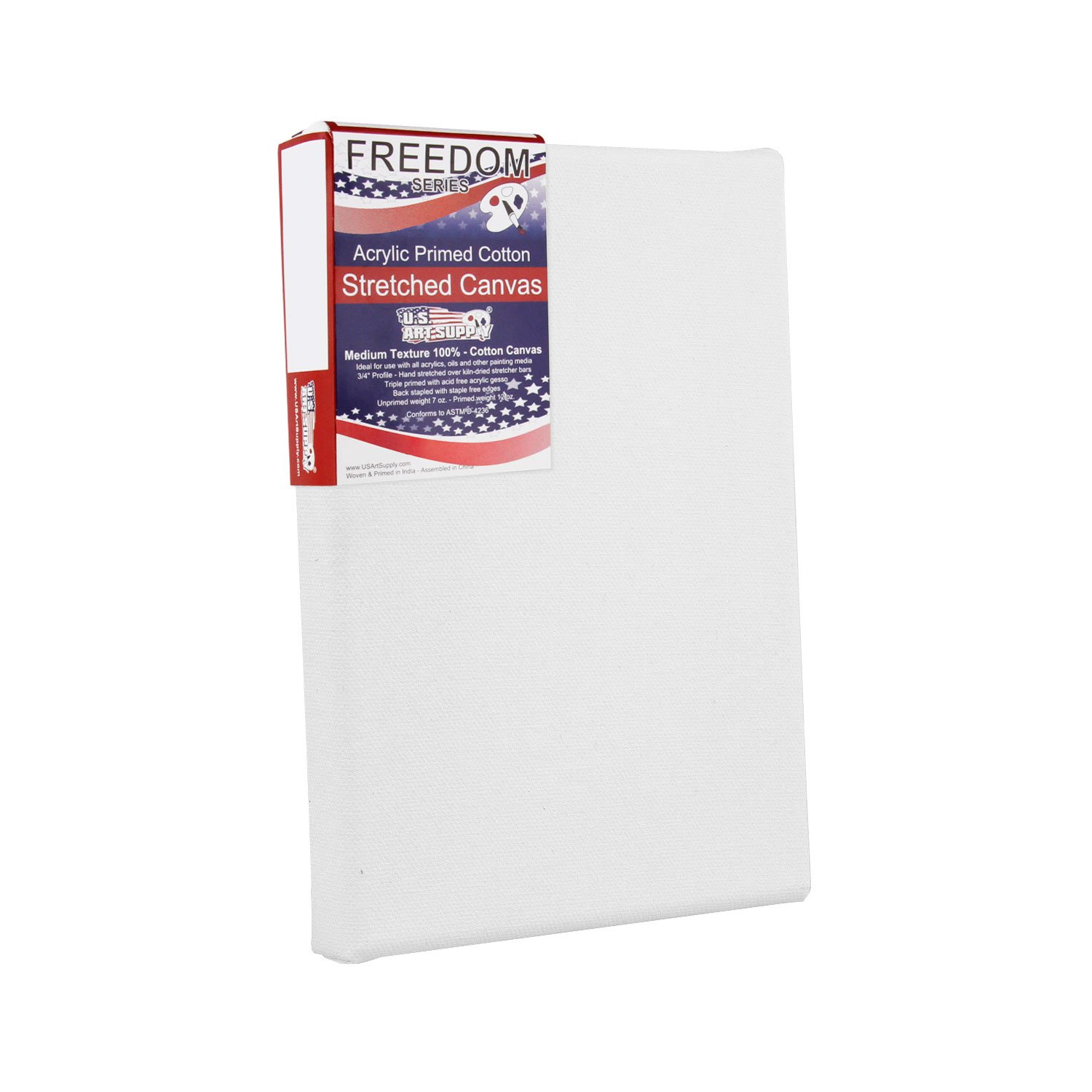 1 Full Case of 4 Single Canvases US Art Supply 8 x 10 inch Black Professional Quality Acid Free Stretched Canvas 4-Pack 3//4 Profile 12 Ounce Primed Gesso