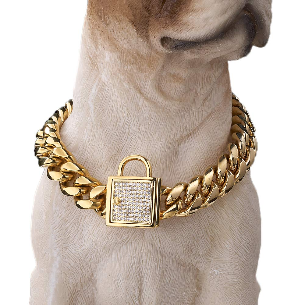 Granny Chic Top Cubic Zirconia Lock Stainless Steel 18K Gold Plated Curb Cuban Chain Dog Training Walking Choke Collar (10 inches)