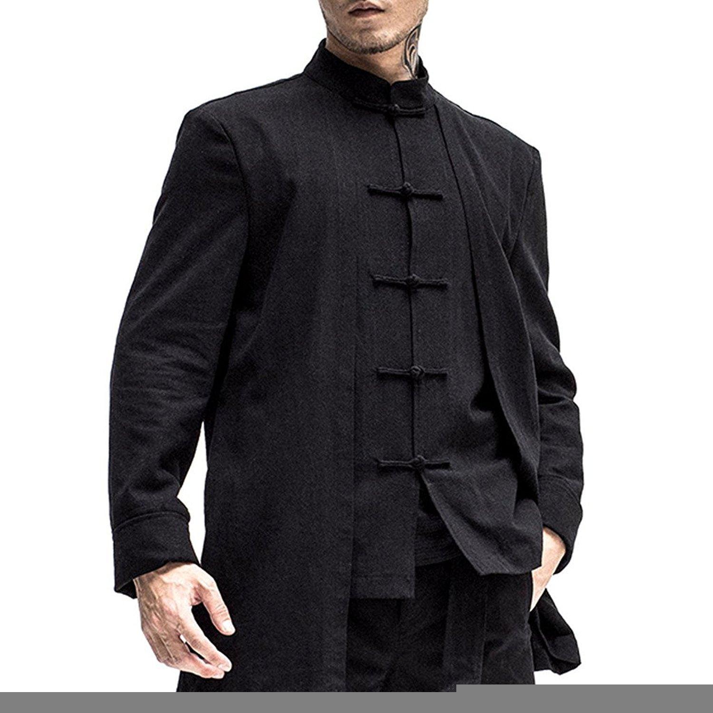 Kung Fu Smith Mens Black Linen Traditional Chinese Kung Fu Shirt, Mandarin Collar (XX-Large)