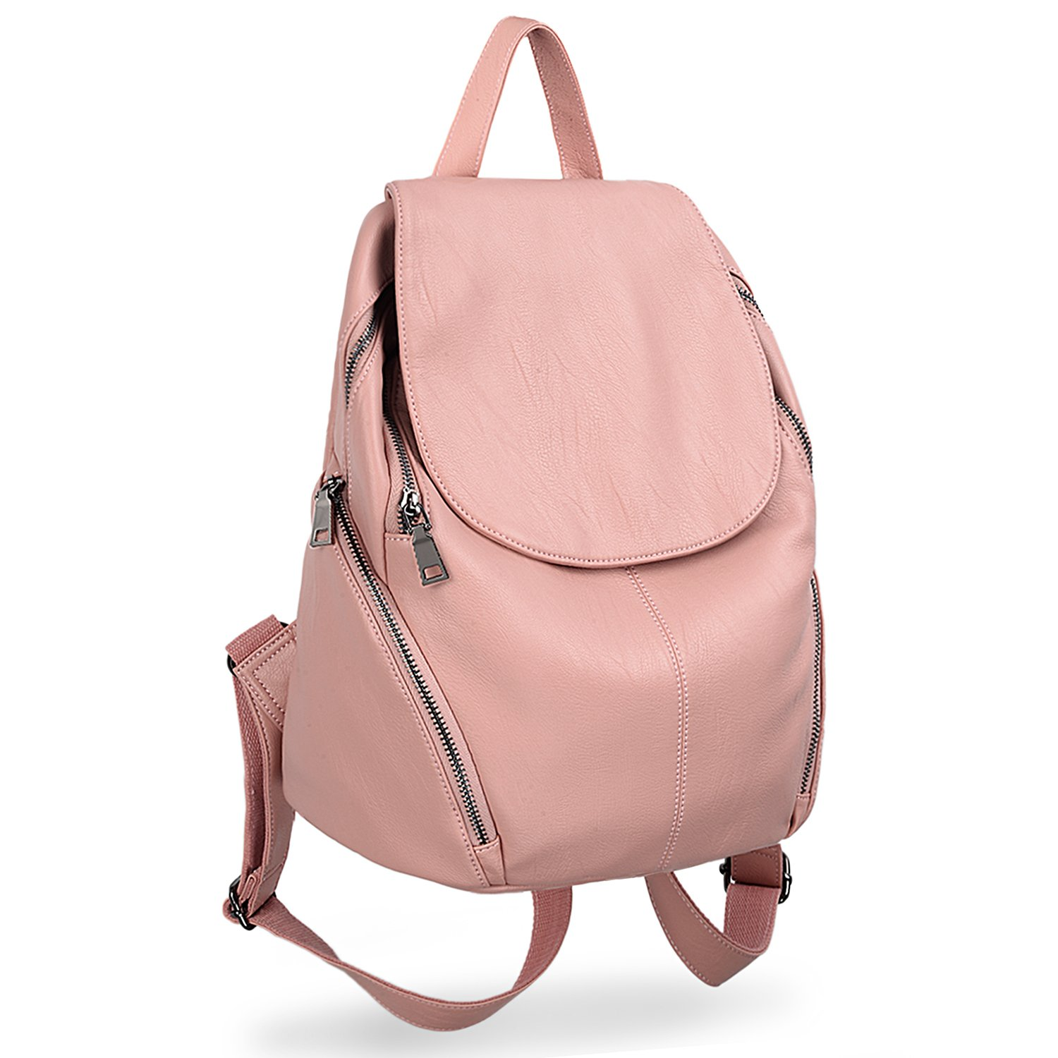 UTO Women Backpack Purse PU Washed Leather Large Capacity Ladies Rucksack Shoulder Bag Pink