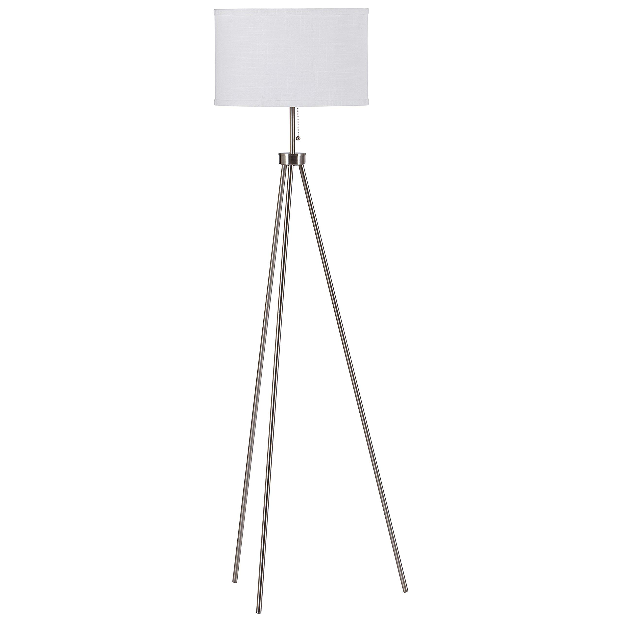 Rivet Minimalist Tripod Floor Lamp, 58''H, With Bulb, Steel