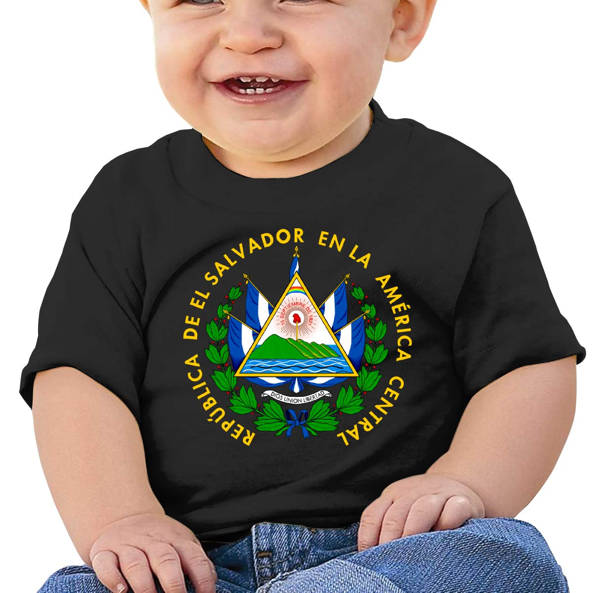 El Salvador Coat of Arms Jeans Baby T-Shirt Toddler Cotton T Shirts Fashion Basic Shirt for 6M-2T Baby