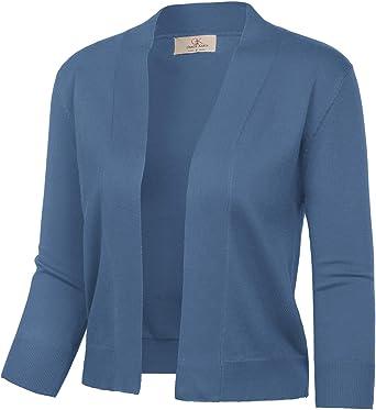 GRACE KARIN Women's 3/4 Sleeve Cardigan Knit Sweaters Cropped Open Front  Shrug Bolero… at Amazon Women's Clothing store