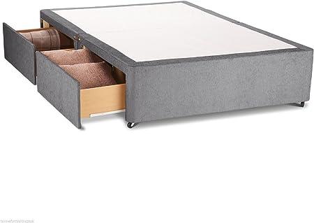 Hf4You Chenille cama con canapé base–sin cabecero de cama–2cajones, beige, 121 cm