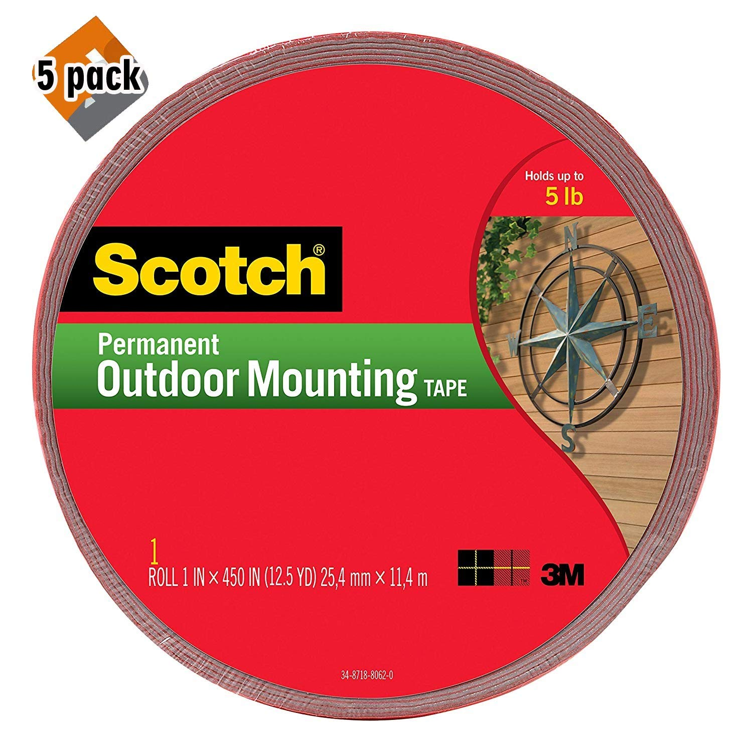 Scotch Permanent Outdoor Mounting Tape, 1 Inch x 450 Inches (4011-LONG) 5 Pack by Scotch Brand
