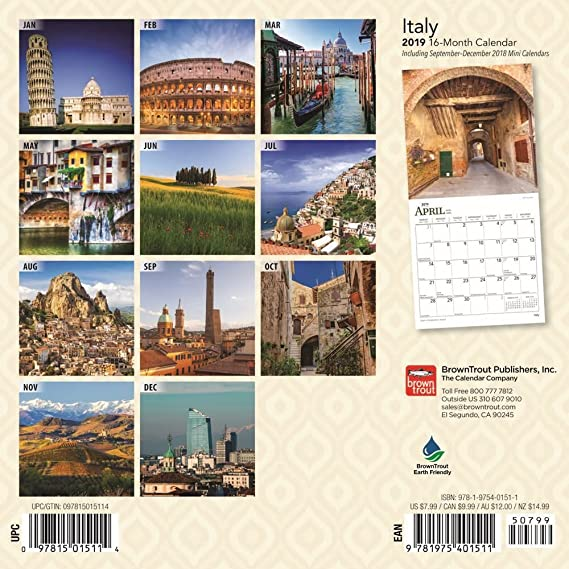 Amazon com : 2019 Italy Mini Wall Calendar, Italy by BrownTrout