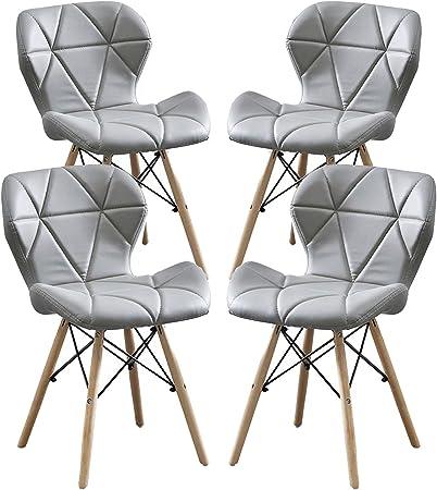 MIFI Sedie in Legno da Pranzo in Stile Eiffel, Sedia Moderna con Cuscino in PU Gamba Rotonda Sedia Moderna in Legno per Soggiorno, Cucina, Balcone