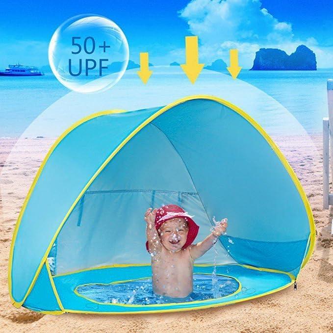 Aesy Tienda Playa Bebe, Automático Pop Up Sun Shelter Playa Sun Shade Canopy Cabana Cámping Tiendas, para Infantil Niños Protección Solar Anti UV 50+ con ...