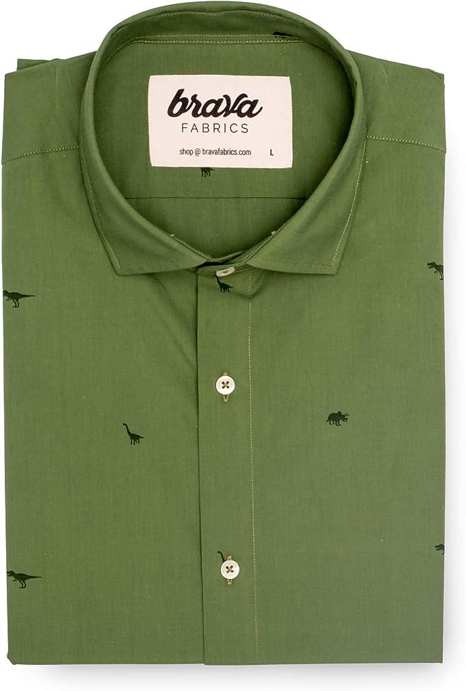 Brava Fabrics | Camisa Hombre Manga Corta | Camisa Estampada para Hombre | Camisa Casual Regular Fit | 100% Algodón | Modelo Green Jurassic Adventure | Talla XL: Amazon.es: Ropa y accesorios