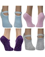 DG Hill 4 Pairs Mary Jane Warm Slipper Socks For Womens Non Skid Anti Slip Grip Fuzzy Aloe Infused Pack