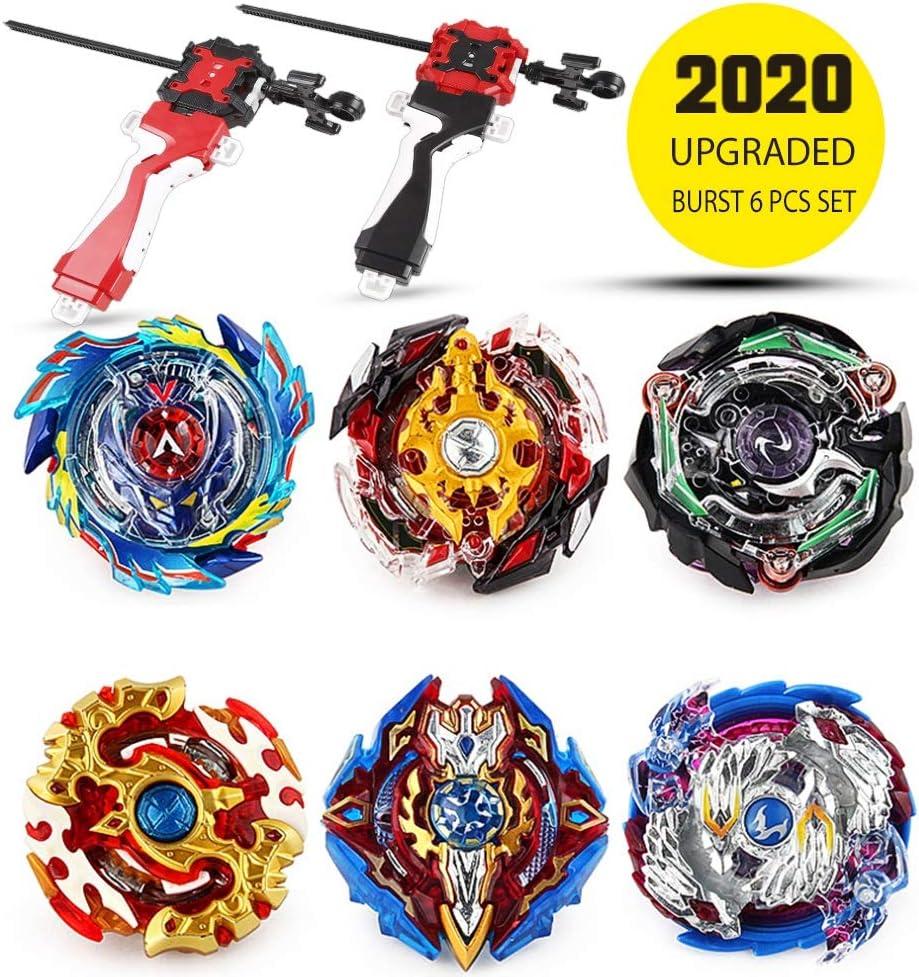 infinitoo Beyblade Burst Juego de 6 giroscopios de Combate 4D Fusion Modelo Lanzador de aceleración Gyro Juguete de Regalo para niños