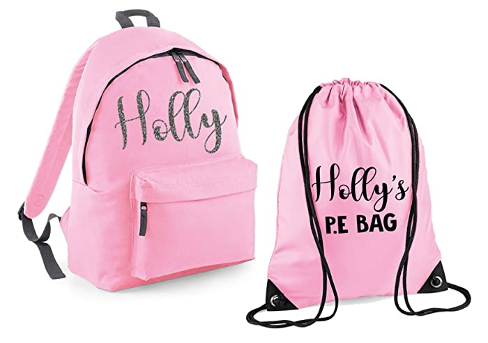 Personalised Name Backpack and P.E Bag Set School bags Boys Personalised  Girls Bags Back to School 0dd98e4c07