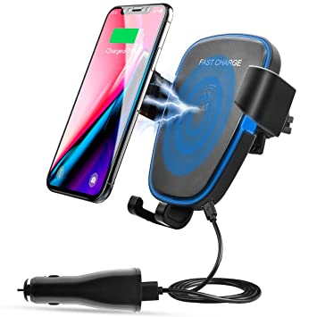 AOGE Wireless cargador auto, Wireless coche cargador rápido cargador inalámbrico con soporte para iPhone 8 Plus/8, Samsung Galaxy S9/S9 Plus/S8 Plus y ...