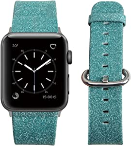 MIFFO Apple Watch Band Leather iWatch Strap Extreme Deluxe Shiny Bling Glitter Leather Bracelet Wristband for Apple Watch Series 1, Series 2, Series 3 Sport Edition (Green-38mm)