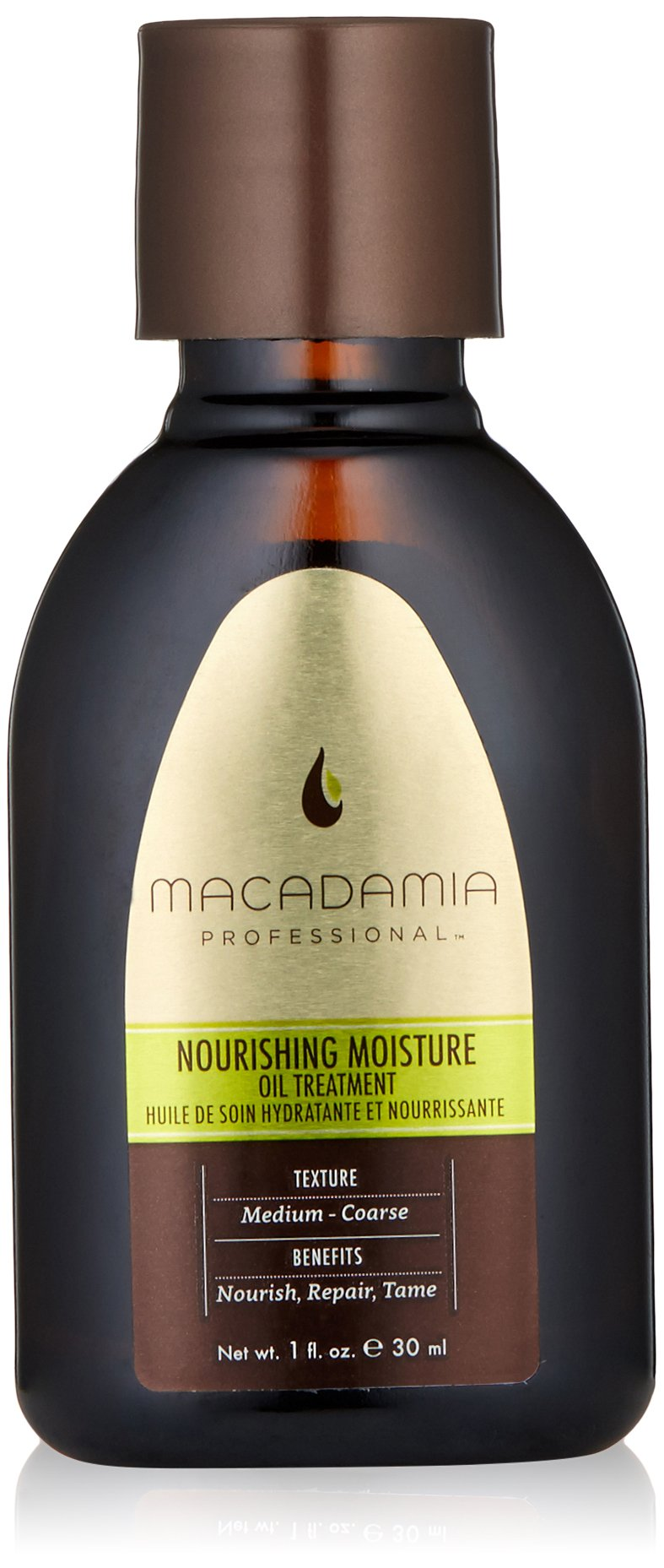 Macadamia Professional Nourishing Moisture Oil Treatment - .9oz. - Medium to Coarse Hair Textures - Nourishes & Tames - With Argan Oil - Sulfate, Gluten & Paraben Free, Safe for Color-Treated Hair