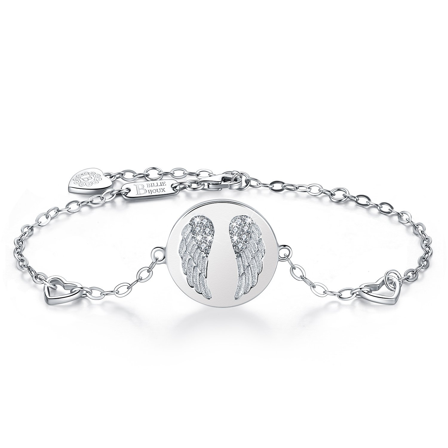 Billie Bijoux 925 Sterling Silver Women Angel Wings Charm Adjustable Bracelet White Gold Plated Best Gift for Graduation, Christmas, Mother's Day and Birthday by Billie Bijoux (Image #1)