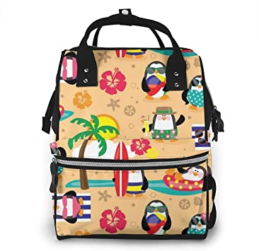 Mochila para pañales Diaper Bag Backpack Penguins in Paradise Multifunction Large Capacity Travel Back Pack Baby Nappy Bags Organizer Waterproof and Durable: Amazon.es: Equipaje
