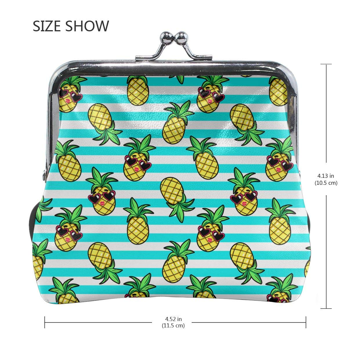 Pineapples And Sunglasses Coin Purses Vintage Pouch Kiss-lock Change Purse Wallets