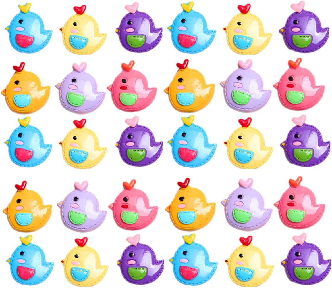 30 Pack Kawaii Animal Slime Charms Resin Beads Flatback Buttons for Miniature Fairy Garden Accessories Scrapbooking Phone Case Decor (Chicken)