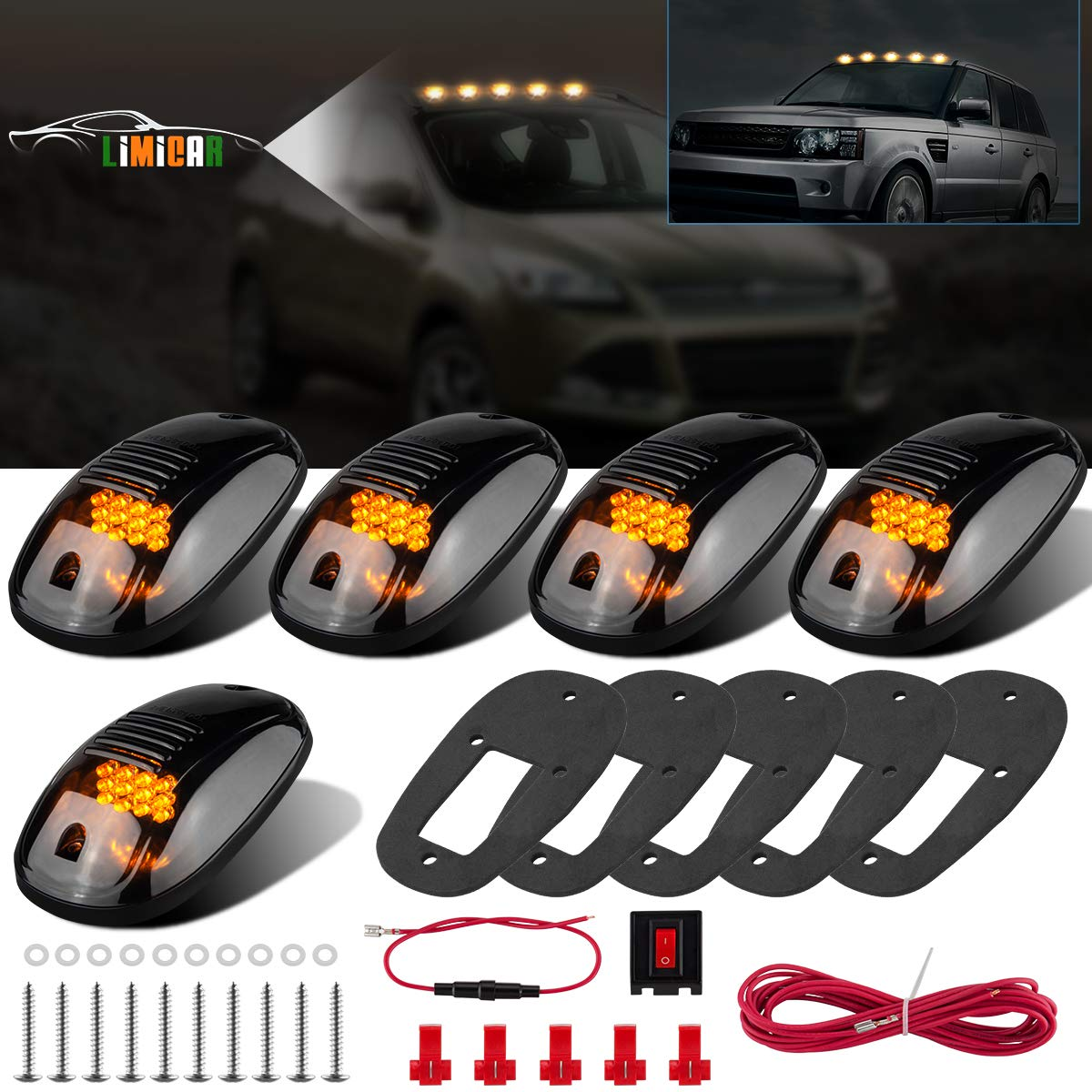 LIMICAR 5X Amber Cab Roof Marker Top Running 12LED Cab Lights Compatible w/ 03-10 Dodge Ram 1500 2500 3500 4500 11-16 Ram 1500 2500 3500 4500 5500 Pickup Trucks w/Stock Cab Marker Lights Cab Marker Roof Top Clearance Light