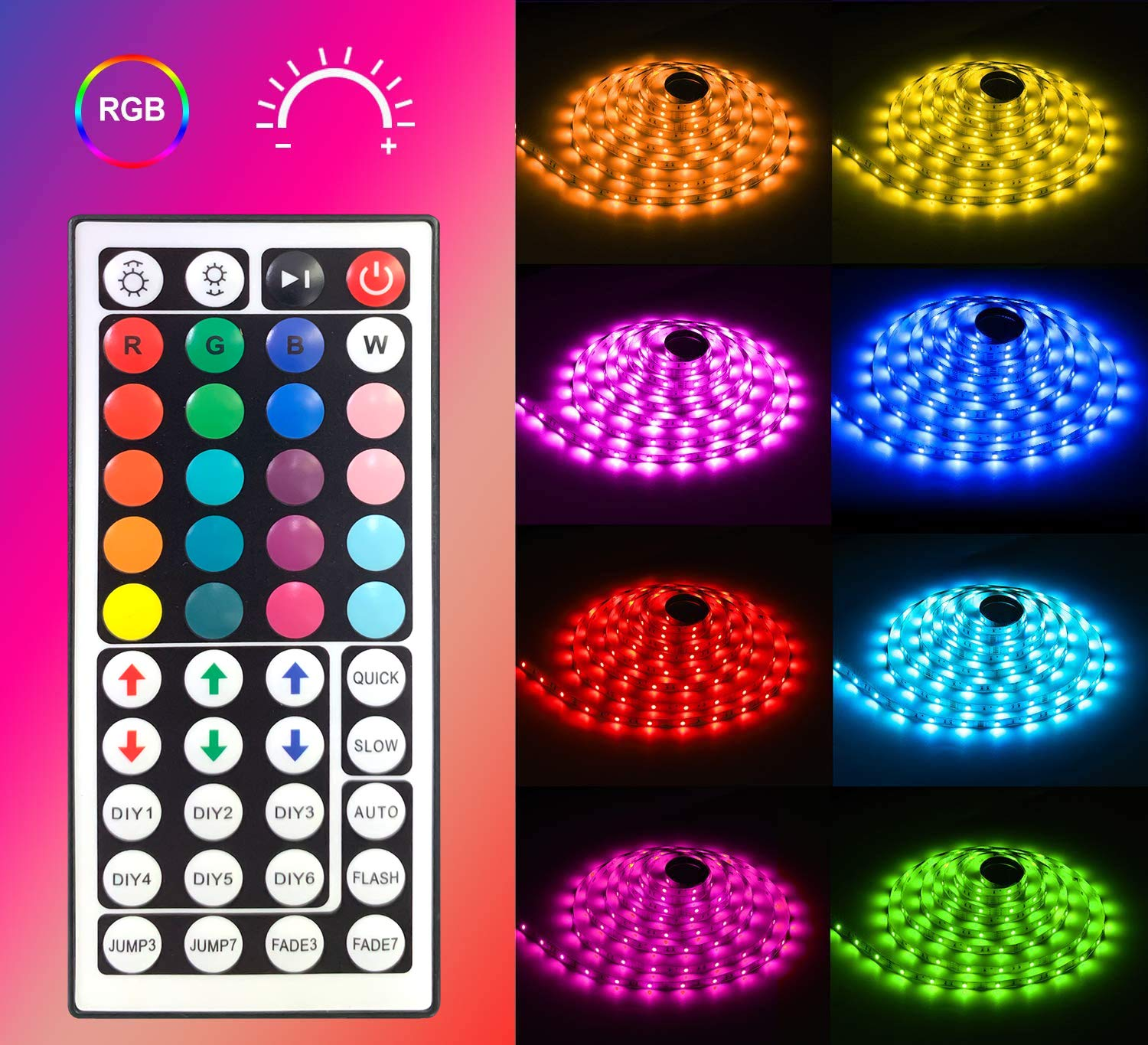 MINGER Led Strip Lights Kit 328Ft RGB Light Strip with Remote Controller Box and Support Clips for
