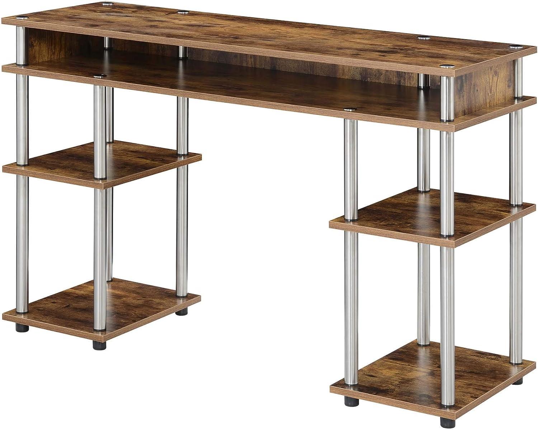 Convenience Concepts Designs2Go No Tools Student Desk with Shelves, Barnwood
