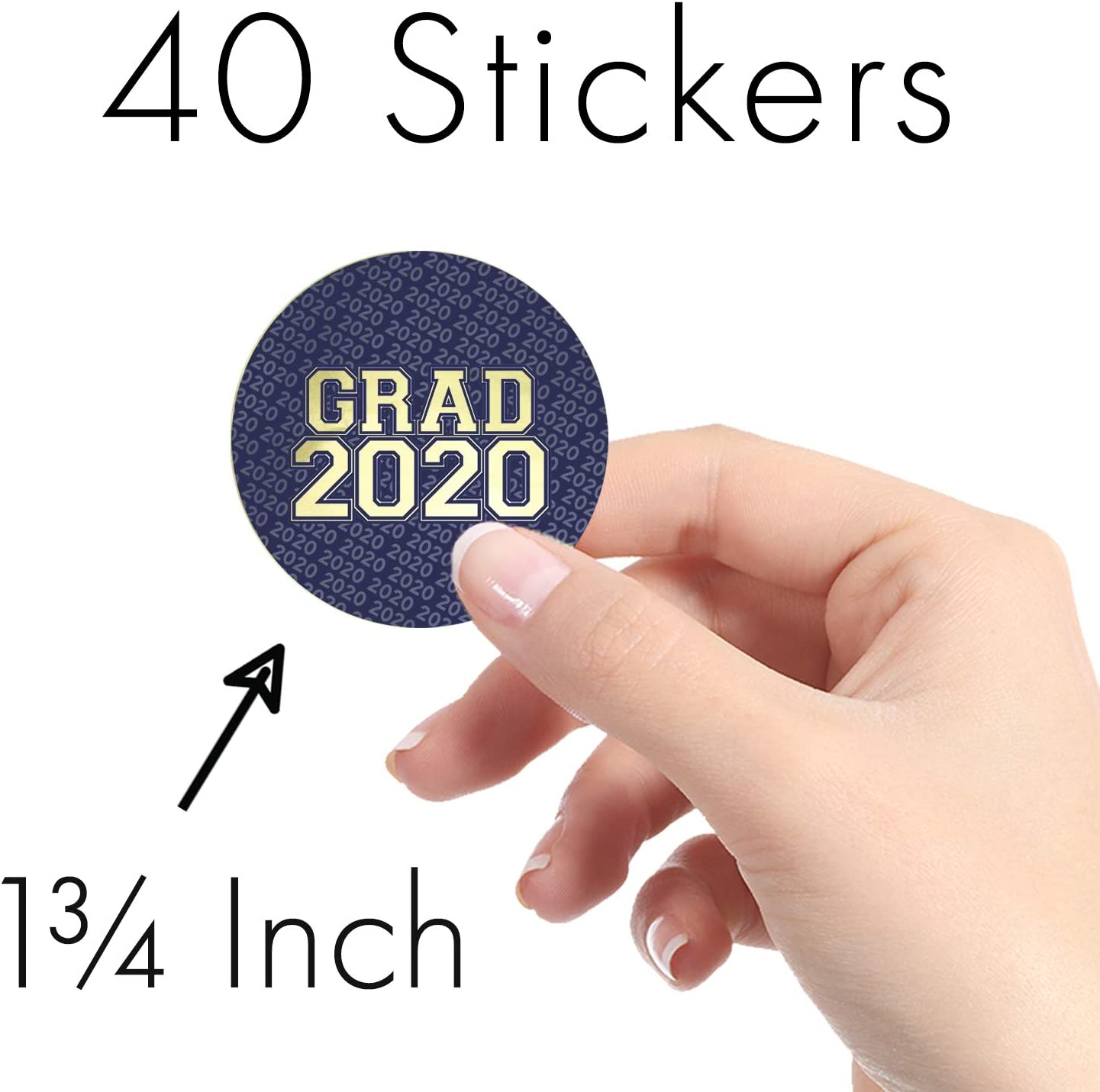 Green 1.75 in 40 Stickers Class of 2020 Graduation Party Favor Labels