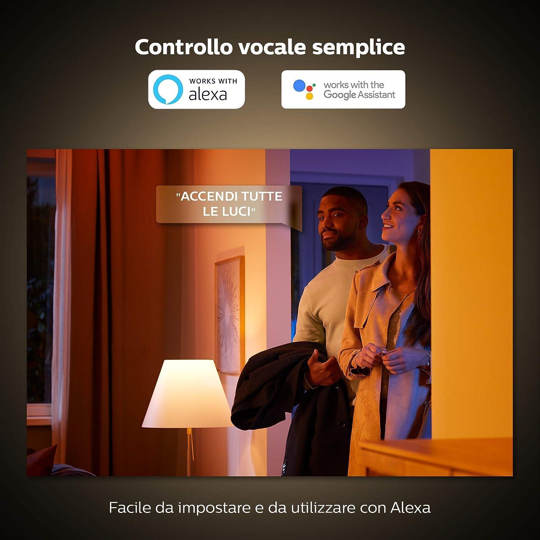 Compatible con Bluetooth y Zigbee Aluminio Philips Hue Plaf/ón Argenta 4 Focos LED Inteligentes GU10 5.7 W Luz Blanca y Color Posibilidad de Control por Voz