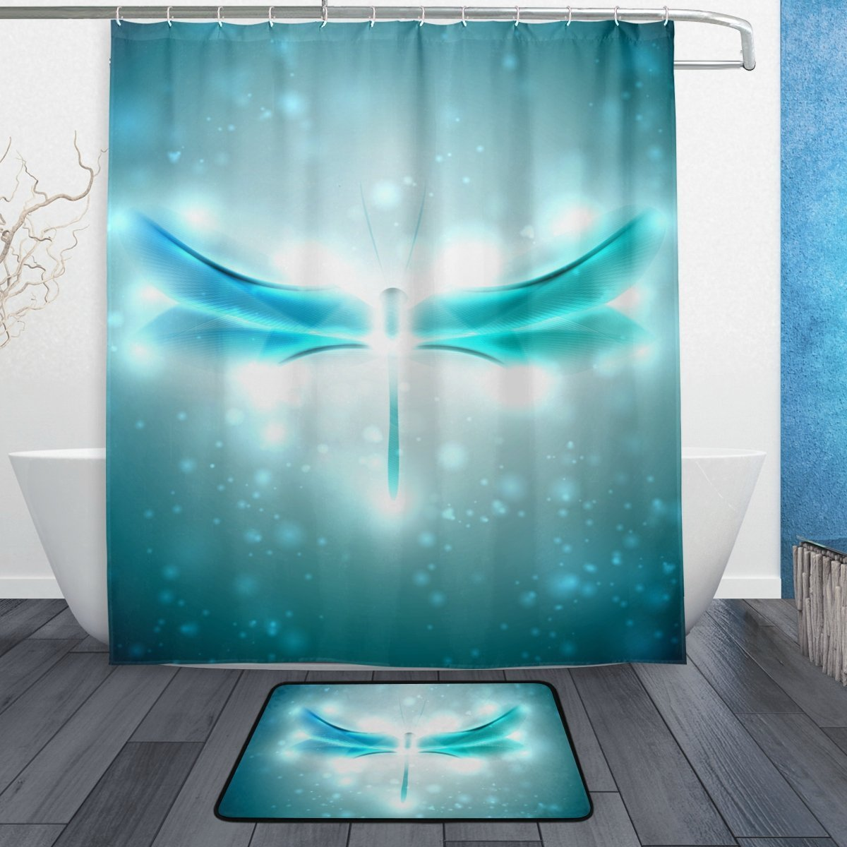 BAIHUISHOP Dragonfly 3-Piece Bathroom Set, Machine Washable for Everyday Use,Includes 60x72 Inch Waterproof Shower Curtain, 12 Shower Hooks and 1 Non-slip Bathroom Rug Carpet - Set of 3