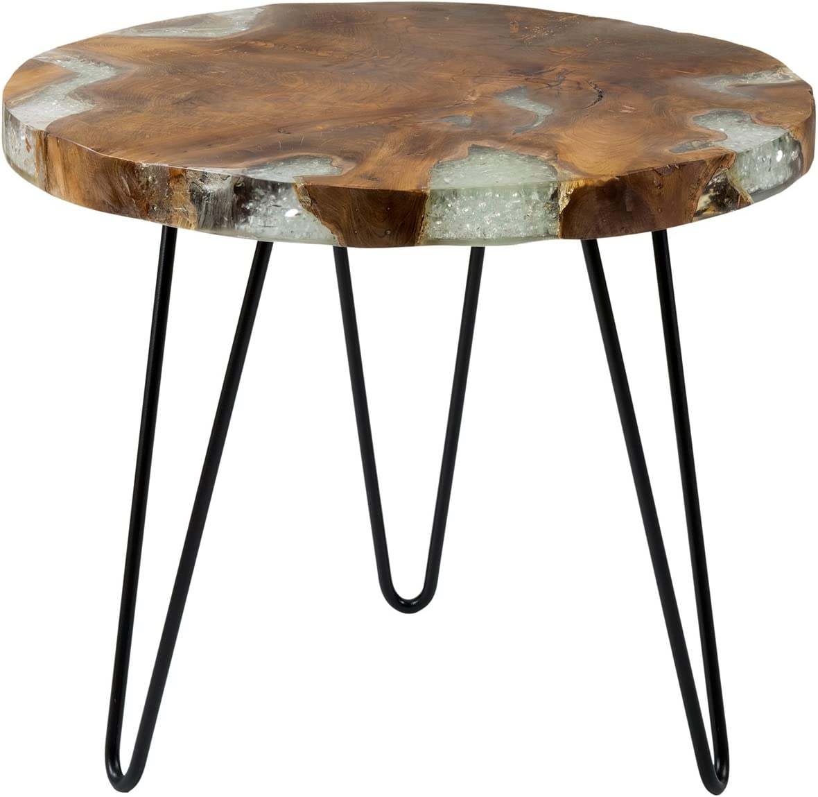 EAST at MAIN Wellton Brown Round Teakwood Accent End Table, (22x22x19)