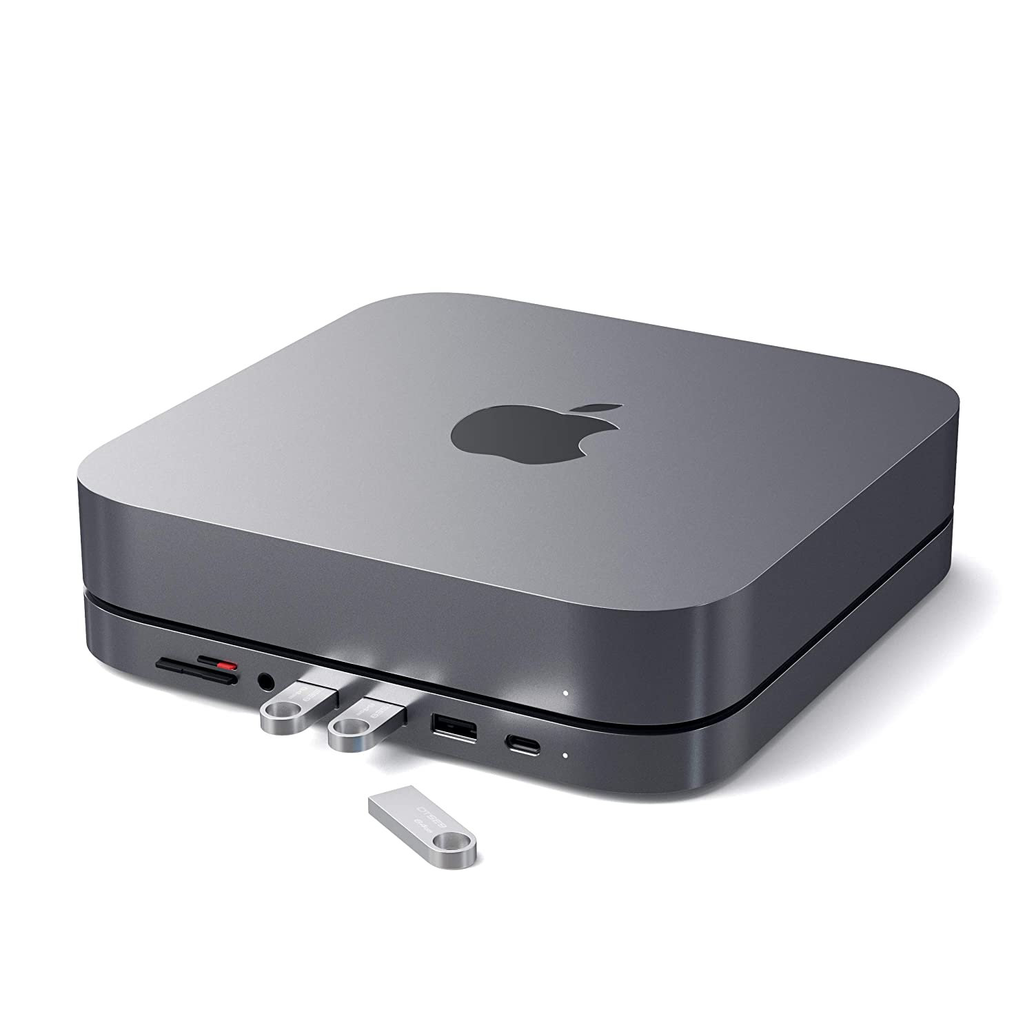 Satechi Type-C Aluminum Stand & Hub - USB-C Data Port, Micro/SD Card Readers, USB 3.0 & Headphone Jack Port - Compatible with Mac Mini (2018 & Later)