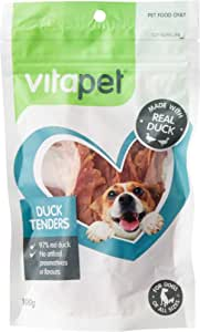 Vita Pet Duck Tenders, Dog Treats, Small/Medium/Large dogs, Puppies/Adult/Senior, 100g