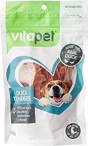 Vita Pet Duck Tenders, Dog Treats, Small/Medium/Large dogs, Puppies/Adult/Senior, 100g